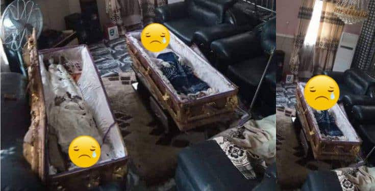 Two coffins dropped in sitting room of man that exhumed them over land dispute in Imo