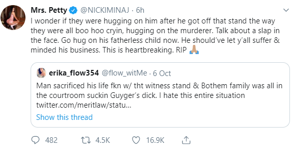 Nicki Minaj speaks out on the death of Joshua Brown who was killed after he testified against Botham Jean