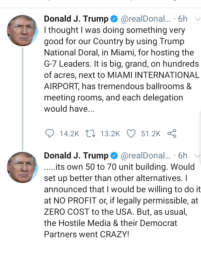 Donald Trump explains why he removed his hotel as host site for the 2020 G-7 meeting